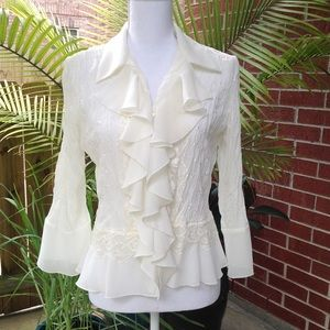 NWOT Allison Taylor lace ruffled blouse to…